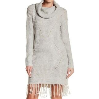 Solutions Gray Womens Medium M Fringe Hem Cowl-Neck Sweater Dress