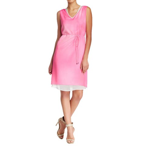 T Tahari Fergie Pink Belted Dress Size XL