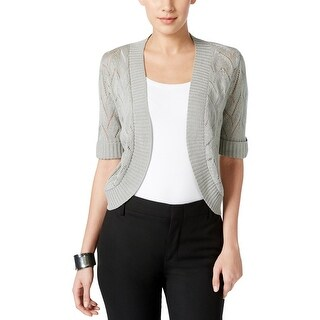 NY Collection Womens Bolero Metallic Cropped