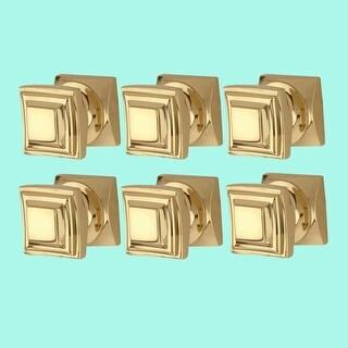 6 Cabinet Knob Square Solid Cast Brass 1 H x 1 W