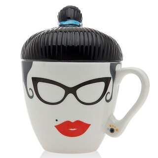 Hipster Rockabilly Girl Lidded Mug - 12 oz.