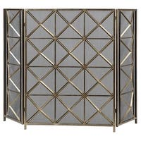 """49"""" Decorative Silver Champagne Hand Forged Geometric Fireplace Screen"""