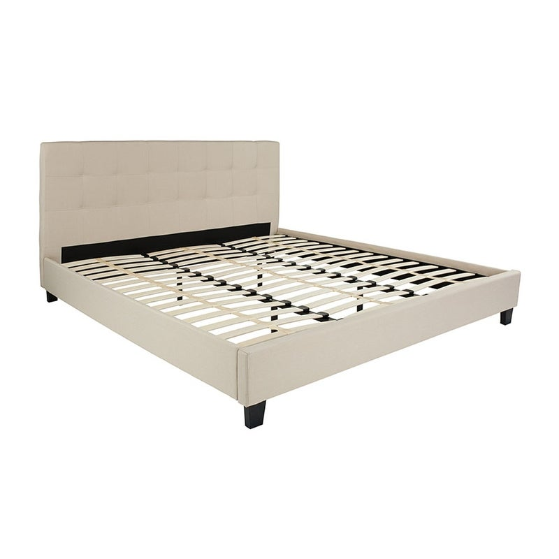 Offex Chelsea King Size Upholstered Platform Bed in Beige Fabric