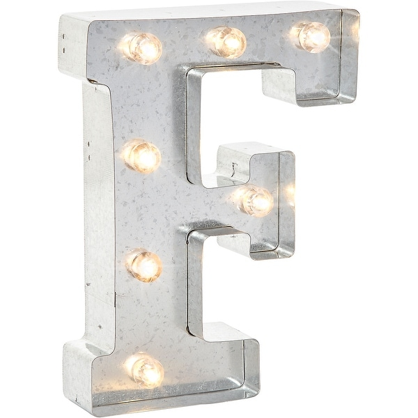 """Silver Metal Marquee Letter 9.875""""-F"""