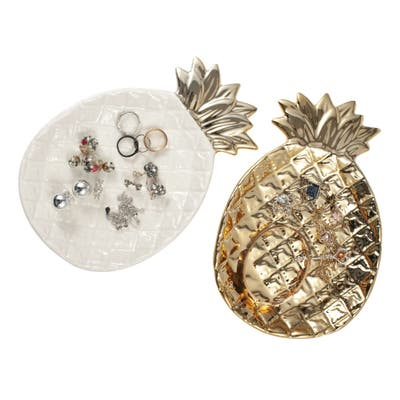 2 Pcs Pineapple Plate, Gold Trinket Dish Jewelry Tray for Rings Earrings Holder