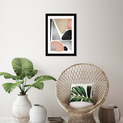 Wynwood Studio 'The Patio Earthtones' Abstract Wall Art Framed Print Shapes - Gray, Brown
