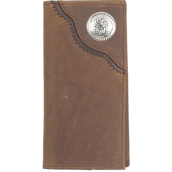 3D Western Wallet Men Leather Rodeo Checkbook Concho Brown - One size