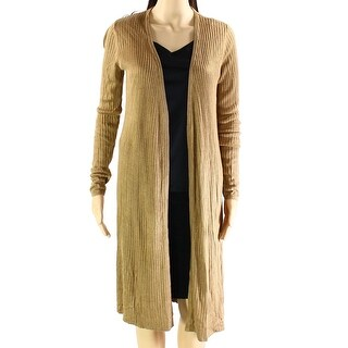 INC Brown Women's Size XXL Plus Ribbed Long Open-Front Cardigan