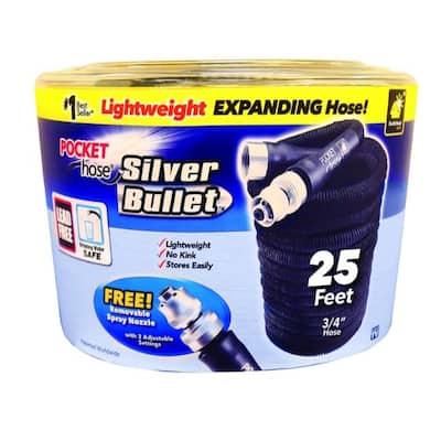 Pocket Hose Silver Bullet Expanding Black Fabric Garden Hose - 4.85 x 6.35 x 6.05