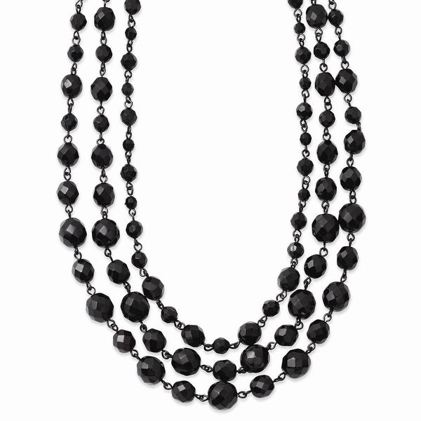 Black IP Black Glass Beads Necklace - 16in