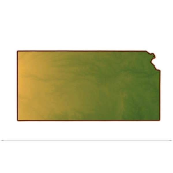 """Map of Kansas"" Poster Print"