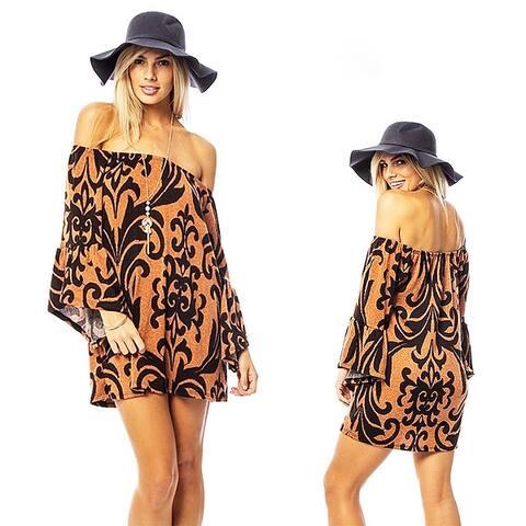 Boho Fleur-De-Lis Off Shoulder Bell Sleeve Knit Sweater Dress Tunic Top - B8321