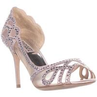 Badgley Mischka Marla Peep-Toe Dress Heels, Pink Satin - 8 us