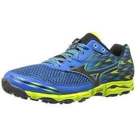 Mizuno Men's Wave Hayate 2 Running Shoe, Electric Blue Lemonade/Black, 11.5 D US
