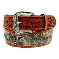Ariat Western Belt Mens Stones Crosses Concho Calf Hair Tan
