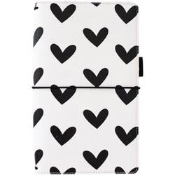 """Black & White Hearts - Freckled Fawn Pocket Traveler's Notebook 9""""X5.75"""""""