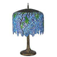 "Meyda Tiffany 118689 Tiffany Wisteria 2-Light 28"" Tall Hand-Crafted Table Lamp with Stained Glass - Mahogany Bronze - N/A"