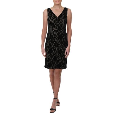 Lauren Ralph Lauren Womens Petites Party Dress Lace V-Neck - Black
