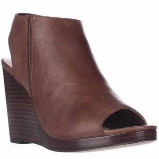 Cole Haan Ripley Wedge Peep Toe Pump Heels - Harvest Brown