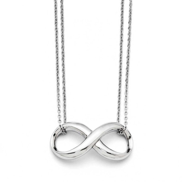 Chisel Stainless Steel Polished Two Strand Infinity Symbol Necklace (1 mm) - 18 in