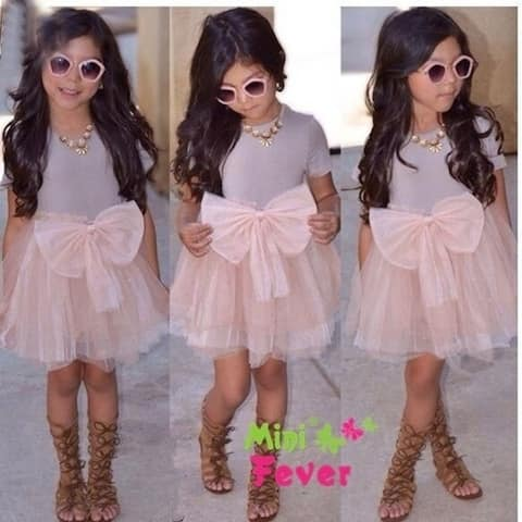 Girls Dress New Summer Baby Grils Bow Party Dress Lace Princess Dress