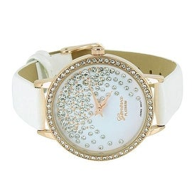 Geneva Womens Watch White Leather Band Simulated Diamonds Analog Display Classy