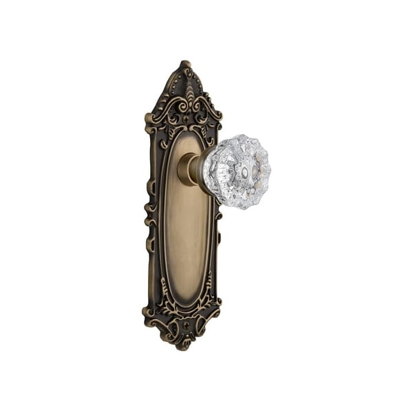 """Nostalgic Warehouse VICCRY_PSG_234_NK Crystal Solid Brass Passage Knob Set with Victorian Rose and 2-3/4"""" Backset"""