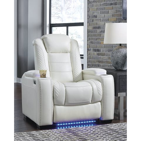 Party Time White Power Recliner with Adjustable Headrest