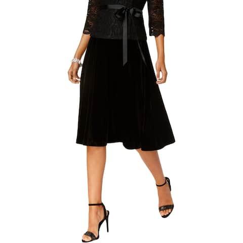 Alex Evenings Womens Petites A-Line Skirt Velvet A-Line