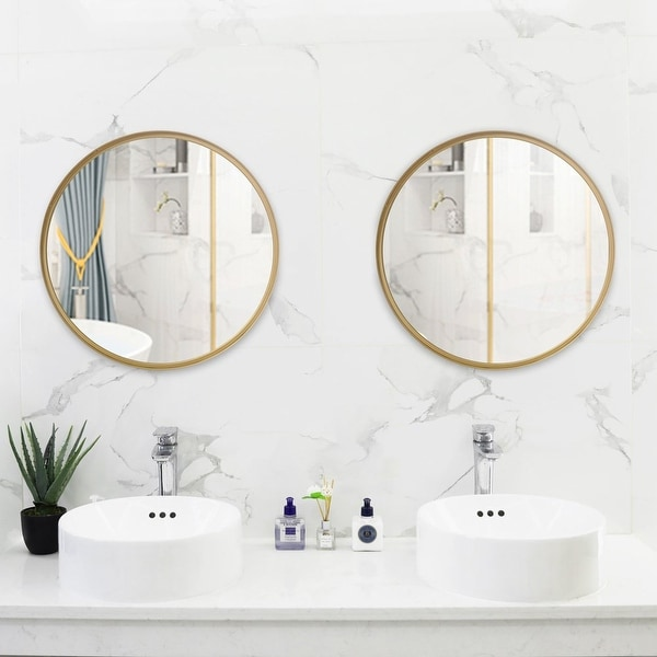 """20""""-30"""" Round Art Wall Mirror Metal Frame for Entryways Washrooms Living Rooms Decor. Opens flyout."""