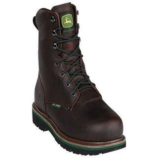 John Deere Work Boots Mens Steel Toe MET Lacer Dark Brown JD8373