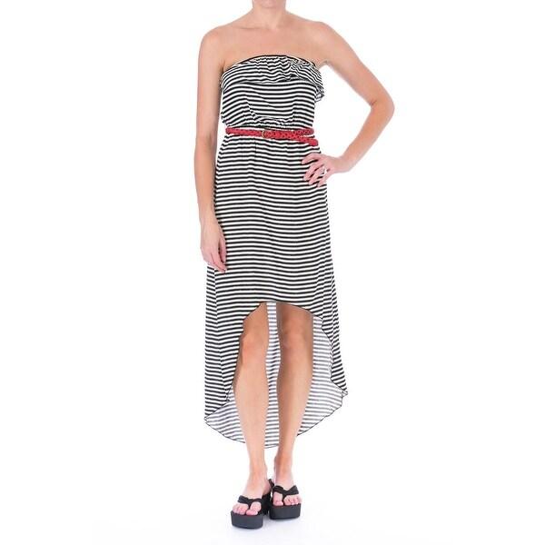 Trixxi Womens Striped Hi-Low Maxi Dress