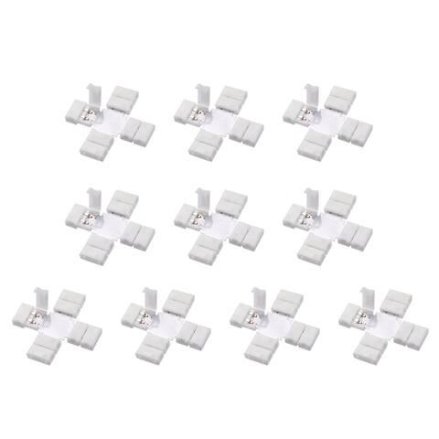 10mm 2P Cross Shape LED Strip Connector for Single Color 5050 Strip Lights 10Pcs - X-shape,10Pcs