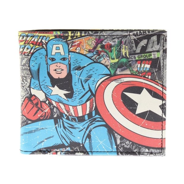 Marvel Mens Captain America Bifold Wallet Faux Leather Graphic
