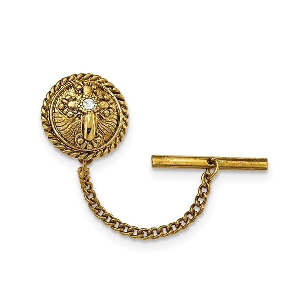 14k Gold IP Crystal Cross Tie Tac