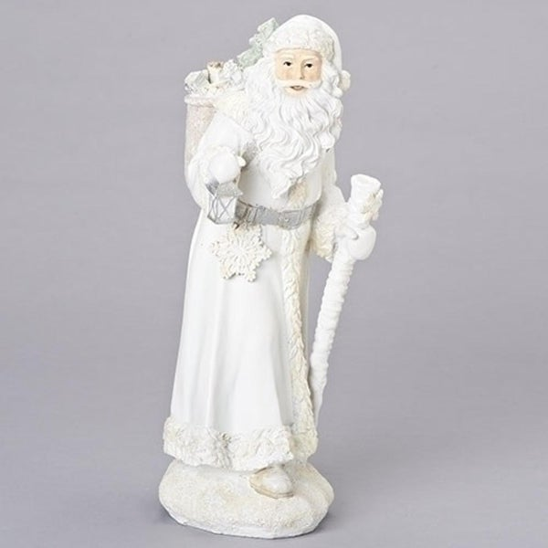 "15.75"" White and Silver Ice Father Christmas with Staff Table Top Figure"