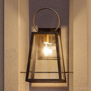 """Luxury Vintage Outdoor Wall Light, 18.875""""H x 9""""W, with Farmhouse Style Elements, Olde Bronze Finish by Urban Ambiance"""