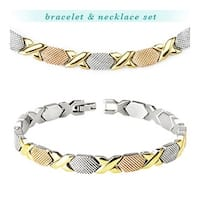 Stainless Steel Tri-Tone X-Link Bracelet & Necklace Combo Set (Sold Ind.) (8 mm)