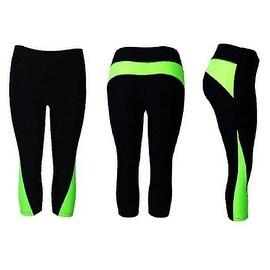Women's Athletic Fitness Sports Yoga Pants Capri Large/X-Large-Black/Green
