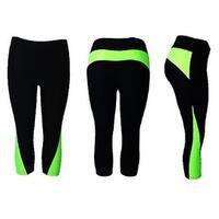 Women's Athletic Fitness Sports Yoga Pants Capri  Small-Medium/Black-Green