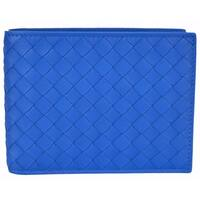 "Bottega Veneta Men's 148324 Blue Woven Leather Bifold Wallet W/Coin Pocket - 5"" x 3.65"""