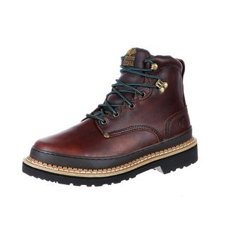 "Georgia Boot Work Mens 6"" Giant Steel Toe Leather Soggy Brown"