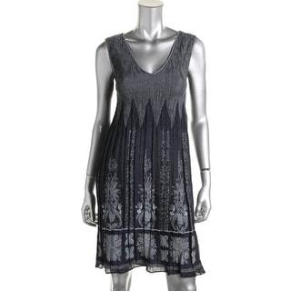Studio M Womens Smocked Printed Casual Dress