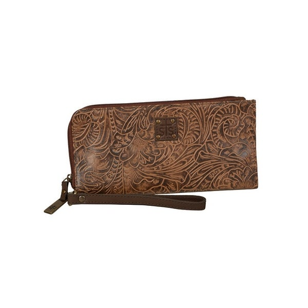 STS Ranchwear Western Wallet Womens Floral Zipper O/S Mocca - One size