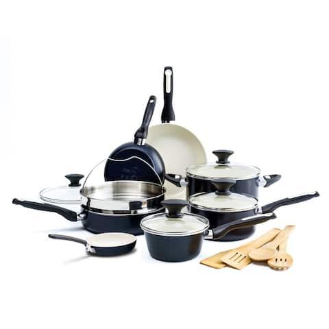 GreenPan Rio Ceramic Non-Stick 16-Piece Cookware Set, Black
