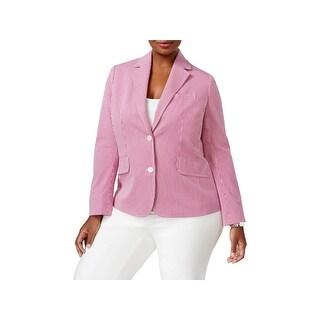 Anne Klein Womens Plus Two-Button Blazer Seersucker Pinstriped