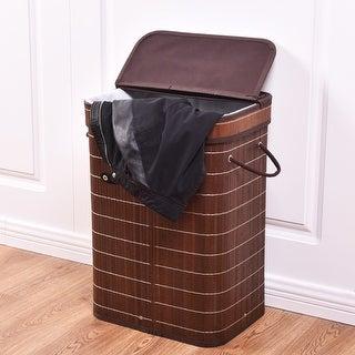 Costway Rect Bamboo Hamper Laundry Basket Washing Cloth Storage Bin Bag W/Folding Lid Brown