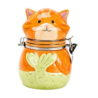 Boston Warehouse Tiger Purr-Maid Hinged Treat Jar Earthenware