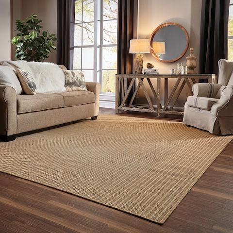 Veranda Woven Verticle Stripes Indoor/ Outdoor Tan Area Rug