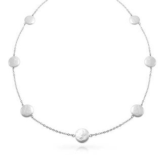 Bling Jewelry .925 Sterling Silver Cultured Coin Pearl Tin Cup Bridal Necklace 10mm 2 Inches - White